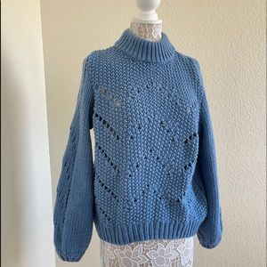 H&M Blue Balloon Sleeves Chunky Knit Sweater